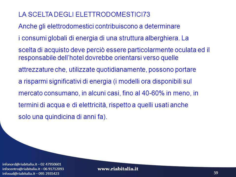 infonord@riabitalia.it – 02 47950601 infocentro@riabitalia.it – 06 91712093 infosud@riabitalia.it – 095 2935423 www.riabitalia.it 59 LA SCELTA DEGLI ELETTRODOMESTICI73 Anche gli elettrodomestici contribuiscono a determinare i consumi globali di energia di una struttura alberghiera.