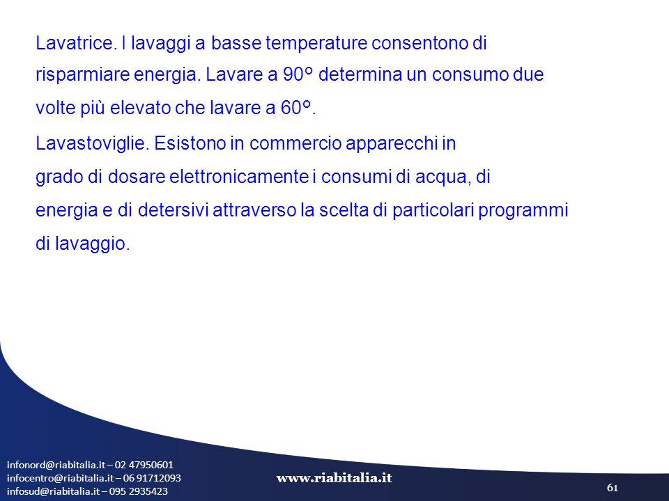 infonord@riabitalia.it – 02 47950601 infocentro@riabitalia.it – 06 91712093 infosud@riabitalia.it – 095 2935423 www.riabitalia.it 61 Lavatrice.