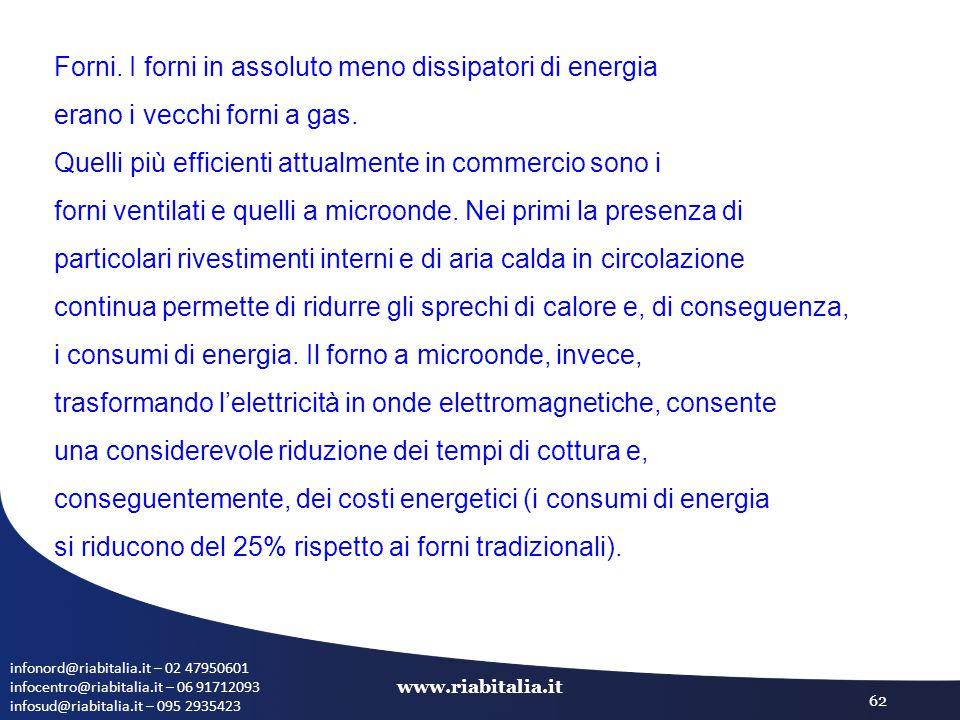 infonord@riabitalia.it – 02 47950601 infocentro@riabitalia.it – 06 91712093 infosud@riabitalia.it – 095 2935423 www.riabitalia.it 62 Forni. I forni in