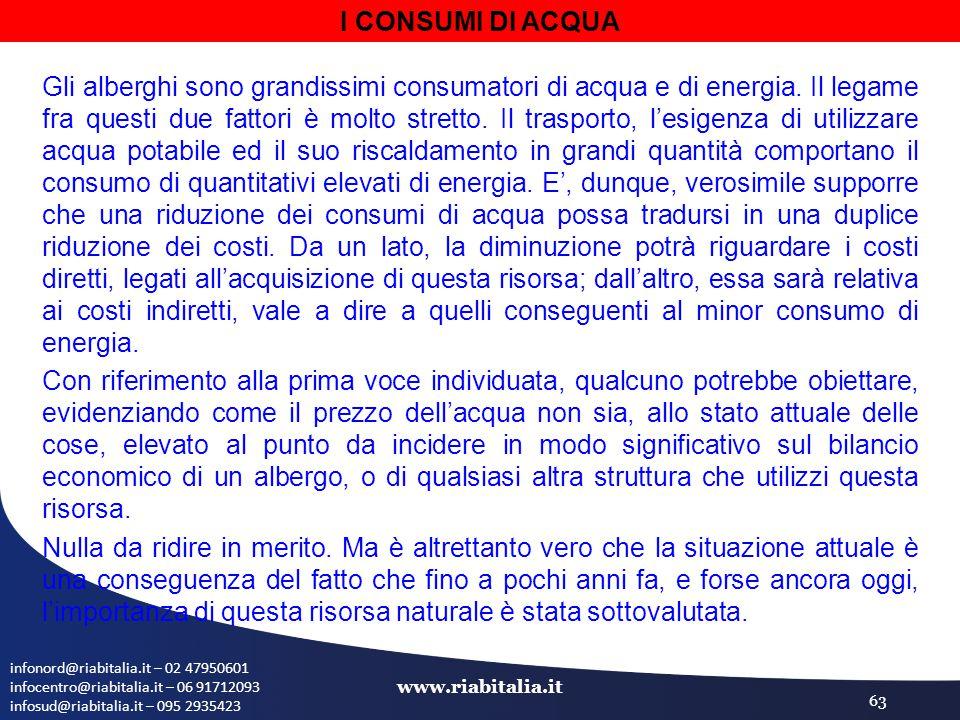 infonord@riabitalia.it – 02 47950601 infocentro@riabitalia.it – 06 91712093 infosud@riabitalia.it – 095 2935423 www.riabitalia.it 63 I CONSUMI DI ACQUA Gli alberghi sono grandissimi consumatori di acqua e di energia.