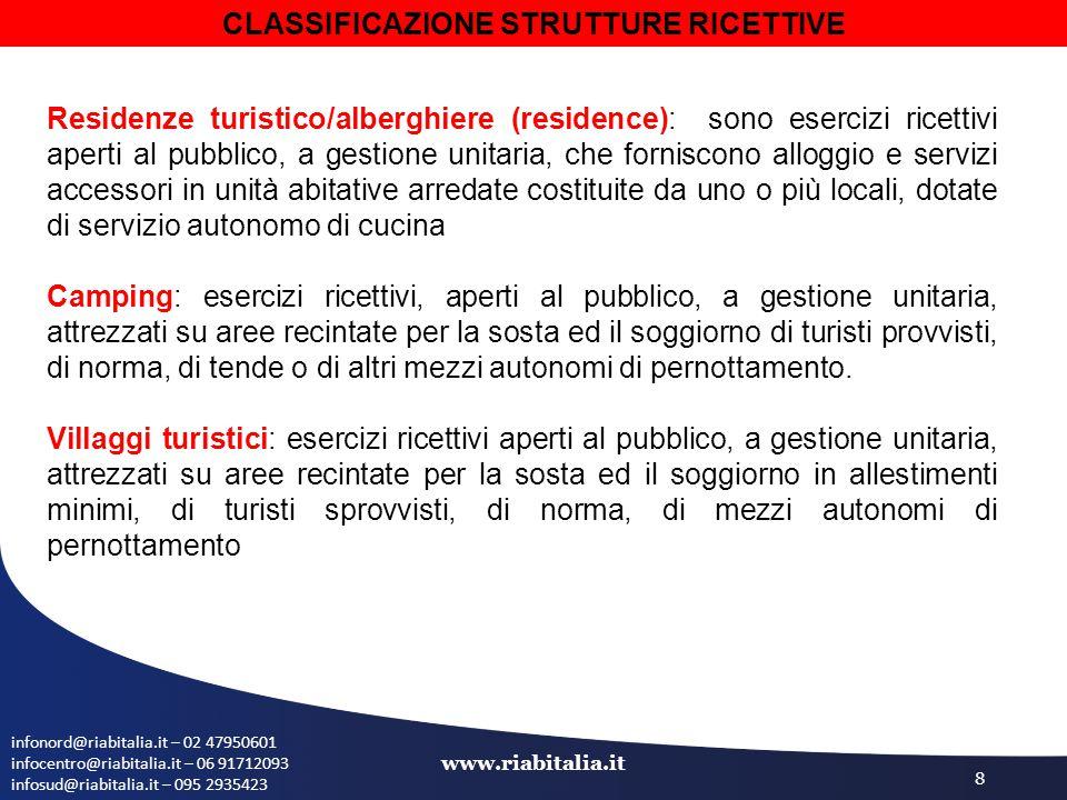 infonord@riabitalia.it – 02 47950601 infocentro@riabitalia.it – 06 91712093 infosud@riabitalia.it – 095 2935423 www.riabitalia.it 8 Residenze turistic