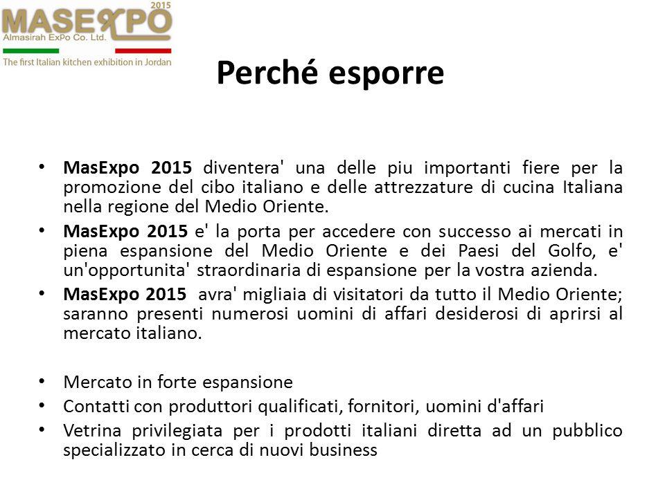 Perché Visitare MasExpo 2015 MasExpo 2015 attirerà migliaia di visitatori e di imprenditori dalla Giordania, dall iraq, e dall intero Medio Oriente, amanti del cibo italiano e del Made in Italy.