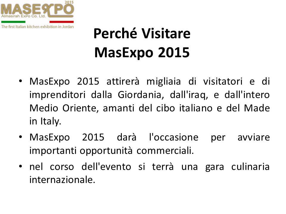 Perché Visitare MasExpo 2015 MasExpo 2015 attirerà migliaia di visitatori e di imprenditori dalla Giordania, dall'iraq, e dall'intero Medio Oriente, a