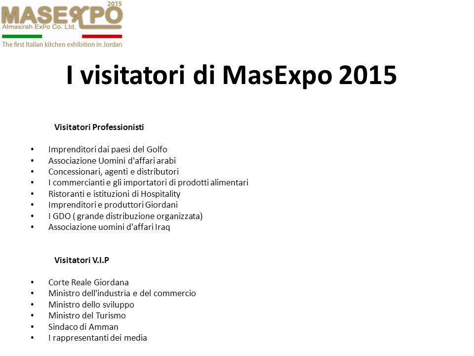 I visitatori di MasExpo 2015 Visitatori Professionisti Imprenditori dai paesi del Golfo Associazione Uomini d'affari arabi Concessionari, agenti e dis
