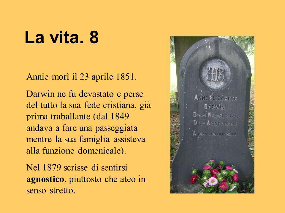 La vita. 8 Annie morì il 23 aprile 1851. Darwin ne fu devastato e perse del tutto la sua fede cristiana, già prima traballante (dal 1849 andava a fare