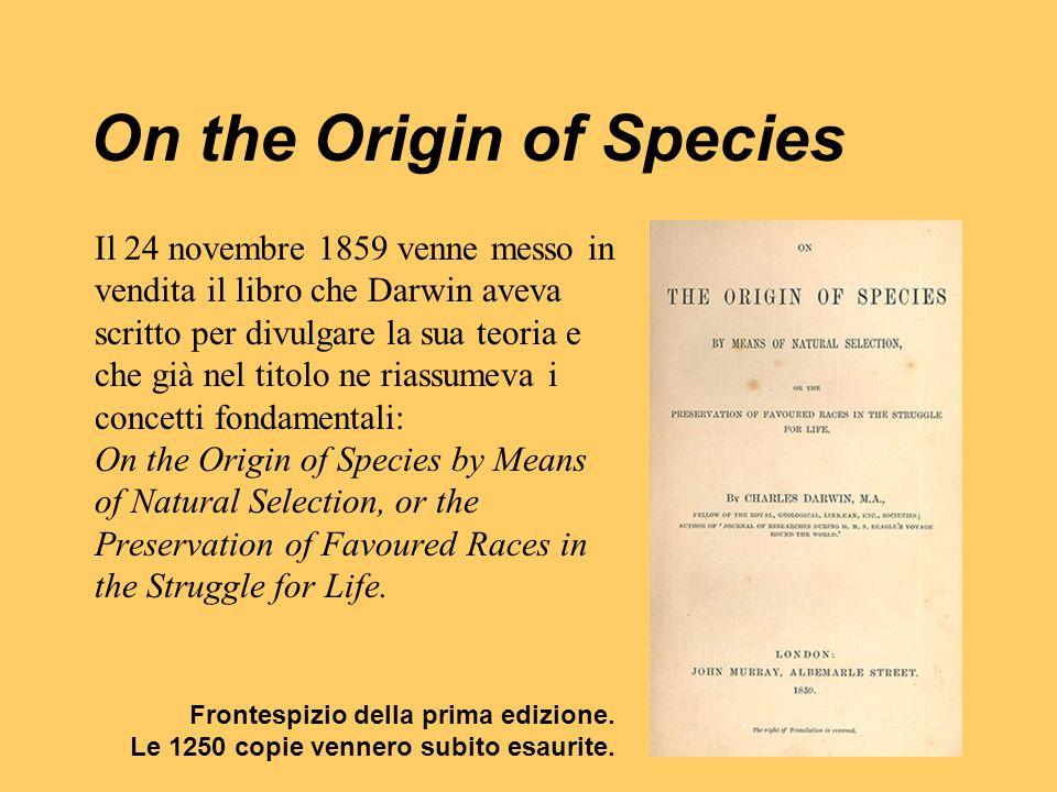 On the Origin of Species Il 24 novembre 1859 venne messo in vendita il libro che Darwin aveva scritto per divulgare la sua teoria e che già nel titolo