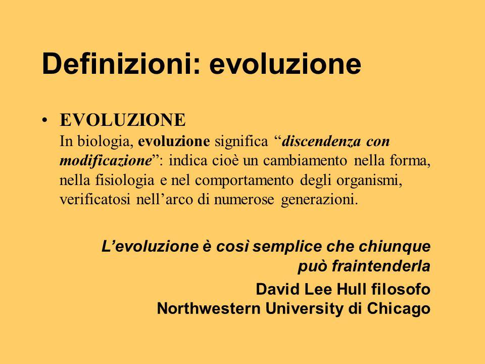 """Definizioni: evoluzione EVOLUZIONE In biologia, evoluzione significa """"discendenza con modificazione"""": indica cioè un cambiamento nella forma, nella fi"""