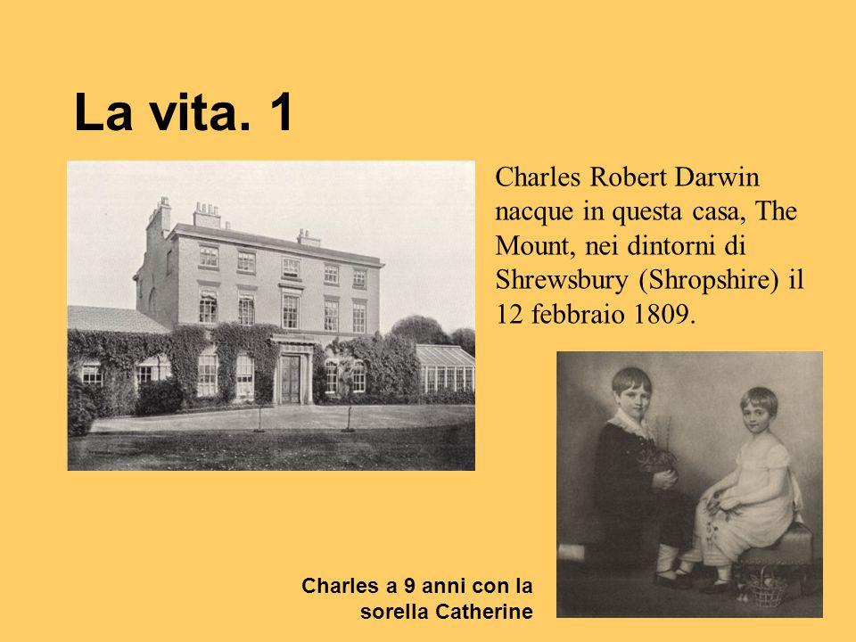 La vita. 1 Charles Robert Darwin nacque in questa casa, The Mount, nei dintorni di Shrewsbury (Shropshire) il 12 febbraio 1809. Charles a 9 anni con l