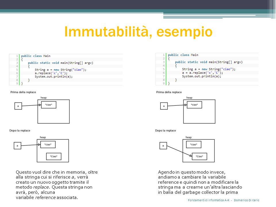 Immutabilità, esempio Fondamenti di informatica A-K - Domenico Di Carlo Agendo in questo modo invece, andiamo a cambiare la variabile reference e quin
