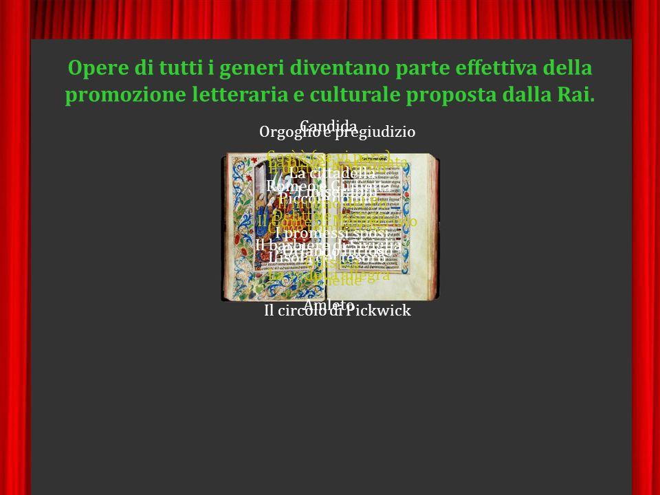 Opere di tutti i generi diventano parte effettiva della promozione letteraria e culturale proposta dalla Rai.