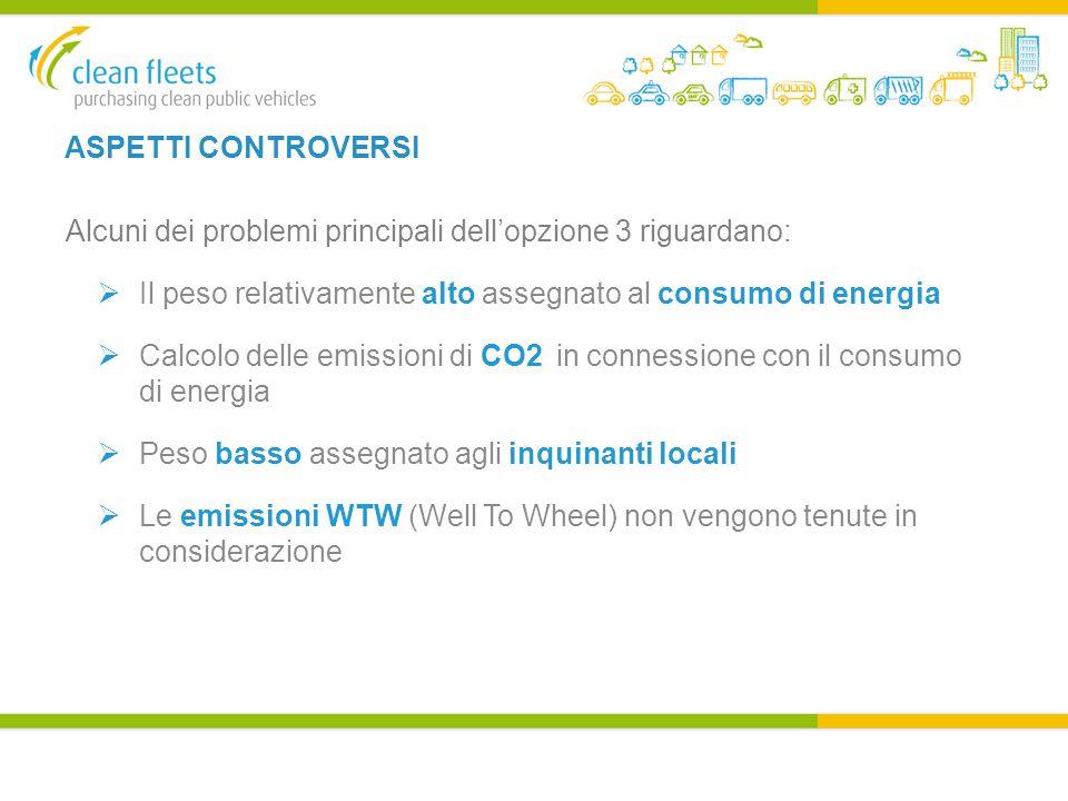 ASPETTI CONTROVERSI Alcuni dei problemi principali dell'opzione 3 riguardano:  Il peso relativamente alto assegnato al consumo di energia  Calcolo delle emissioni di CO2 in connessione con il consumo di energia  Peso basso assegnato agli inquinanti locali  Le emissioni WTW (Well To Wheel) non vengono tenute in considerazione