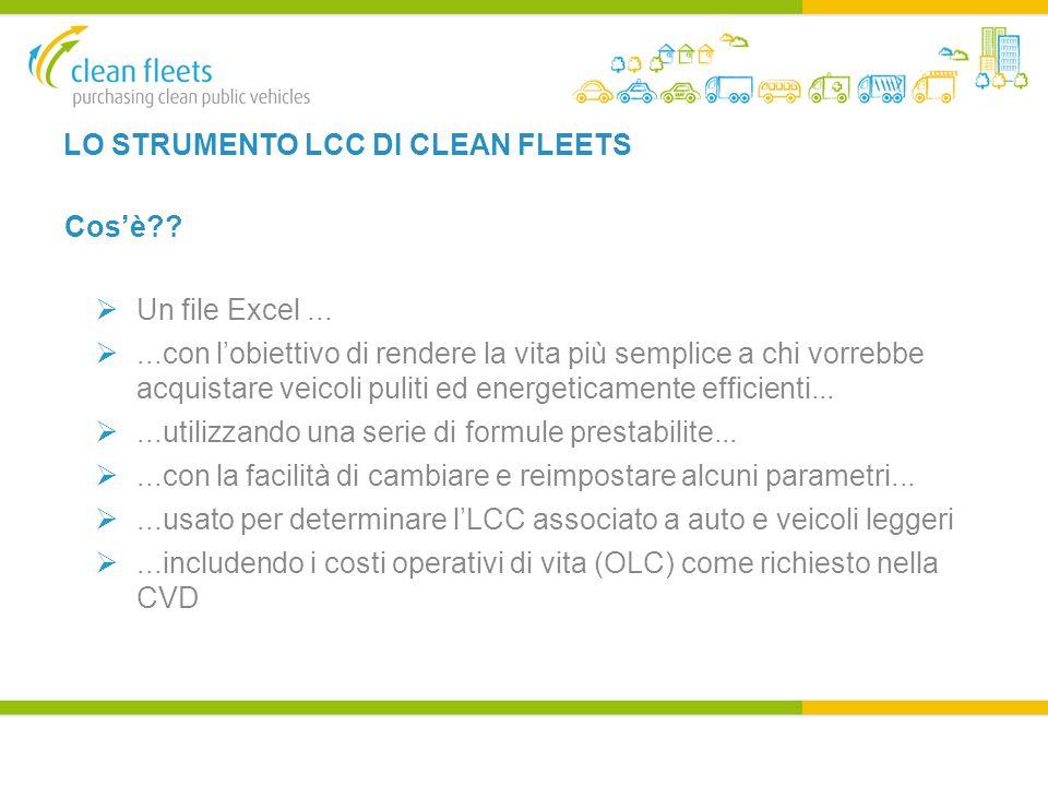 LO STRUMENTO LCC DI CLEAN FLEETS Cos'è .  Un file Excel...