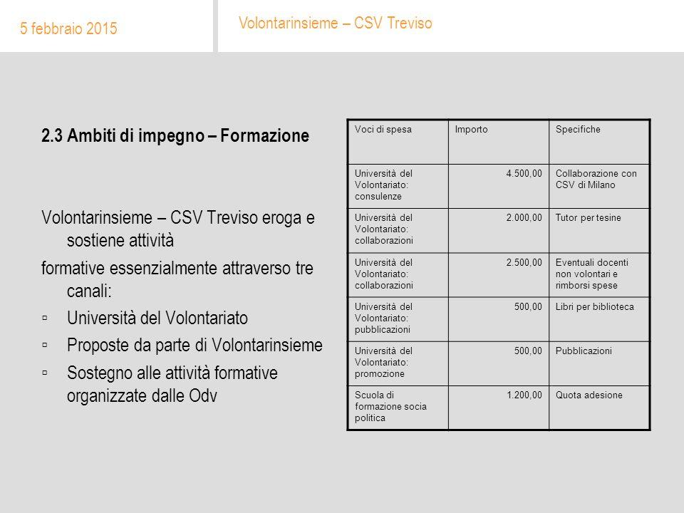 2.3 Ambiti di impegno – Formazione Volontarinsieme – CSV Treviso eroga e sostiene attività formative essenzialmente attraverso tre canali: ▫Università