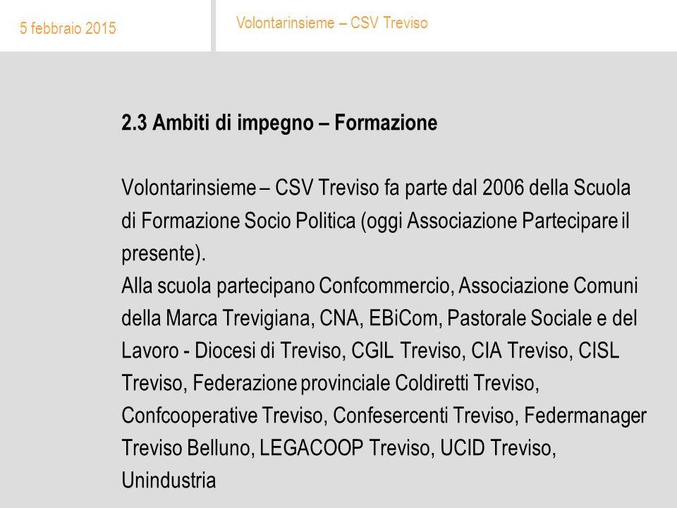 2.3 Ambiti di impegno – Formazione Volontarinsieme – CSV Treviso fa parte dal 2006 della Scuola di Formazione Socio Politica (oggi Associazione Partecipare il presente).