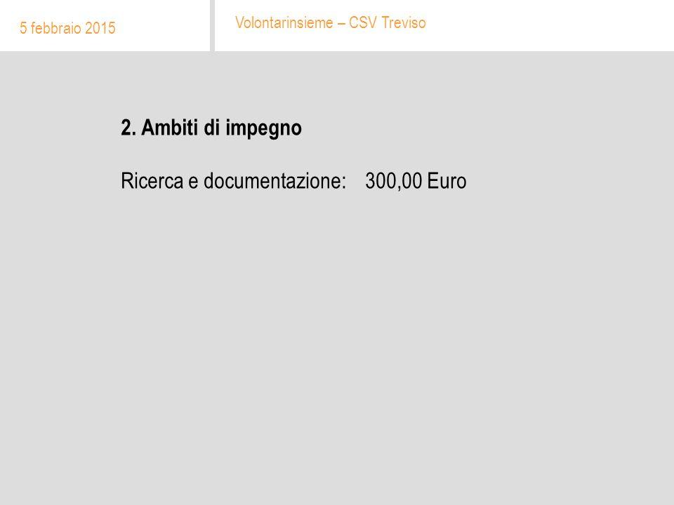 2. Ambiti di impegno Ricerca e documentazione: 300,00 Euro 5 febbraio 2015 Volontarinsieme – CSV Treviso