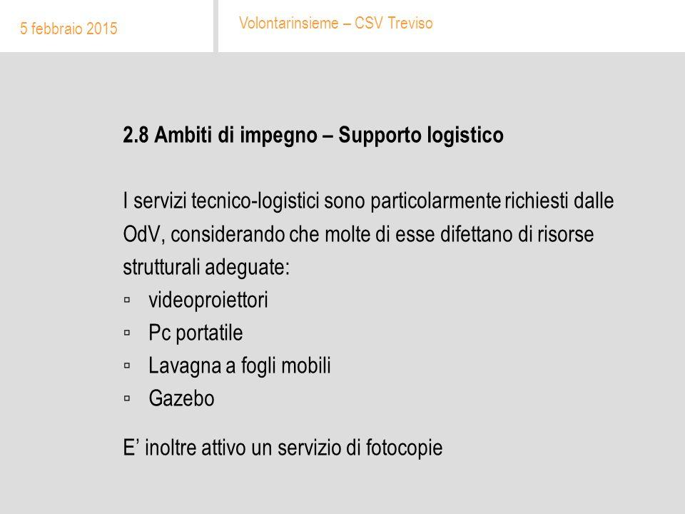 2.8 Ambiti di impegno – Supporto logistico I servizi tecnico-logistici sono particolarmente richiesti dalle OdV, considerando che molte di esse difett