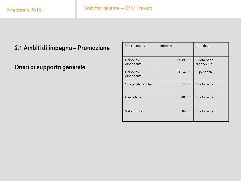 2.1 Ambiti di impegno – Promozione Oneri di supporto generale 5 febbraio 2015 Volontarinsieme – CSV Treviso Voci di spesaimportospecifica Personale di