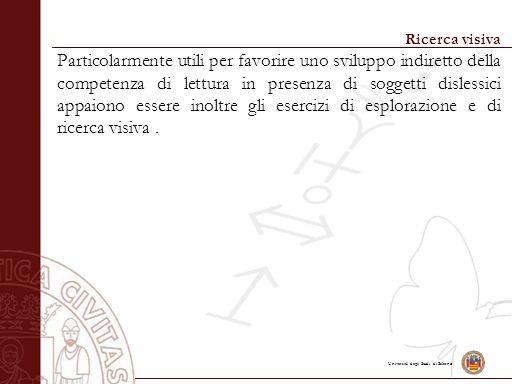 Università degli Studi di Salerno Ricerca visiva Particolarmente utili per favorire uno sviluppo indiretto della competenza di lettura in presenza di