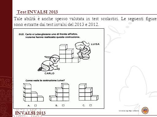Università degli Studi di Salerno Test INVALSI 2013 Tale abilità è anche spesso valutata in test scolastici. Le seguenti figure sono estratte dai test