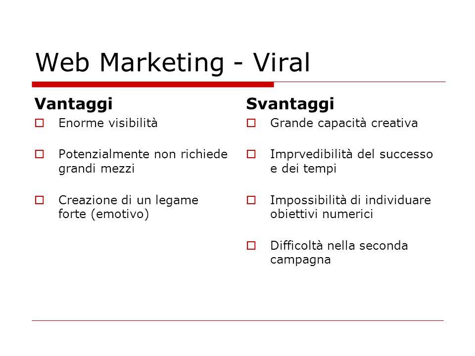 Web Marketing - Viral Vantaggi  Enorme visibilità  Potenzialmente non richiede grandi mezzi  Creazione di un legame forte (emotivo) Svantaggi  Gra