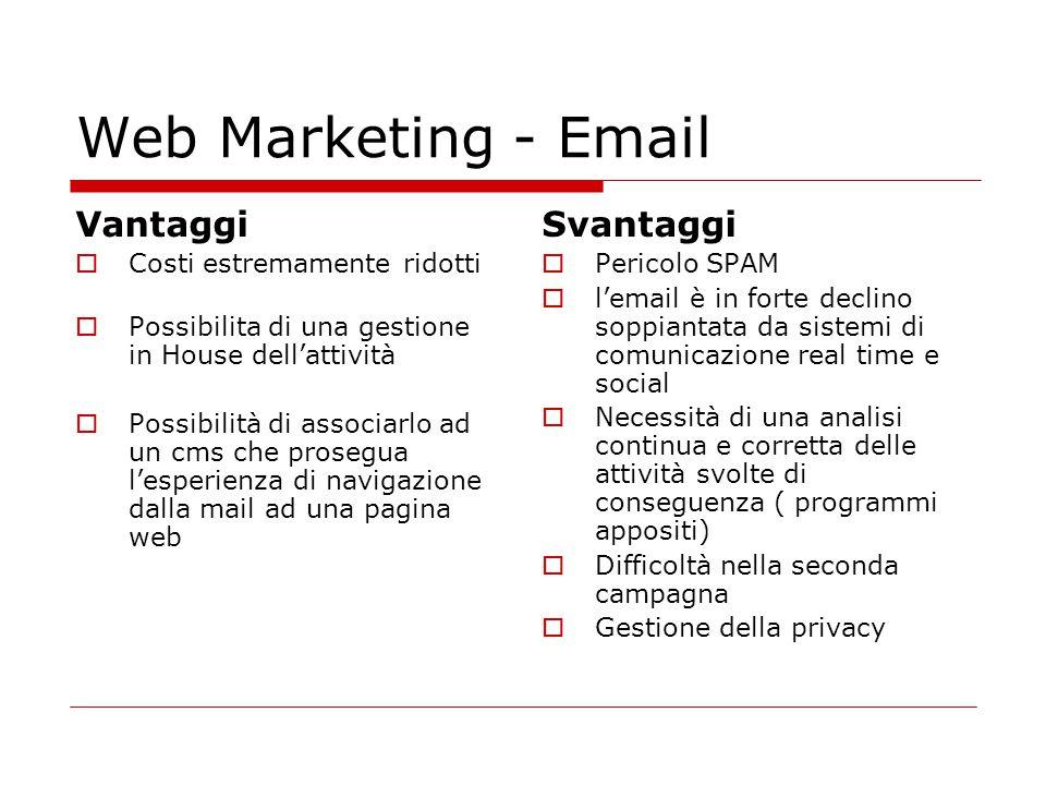Web Marketing - Email Vantaggi  Costi estremamente ridotti  Possibilita di una gestione in House dell'attività  Possibilità di associarlo ad un cms