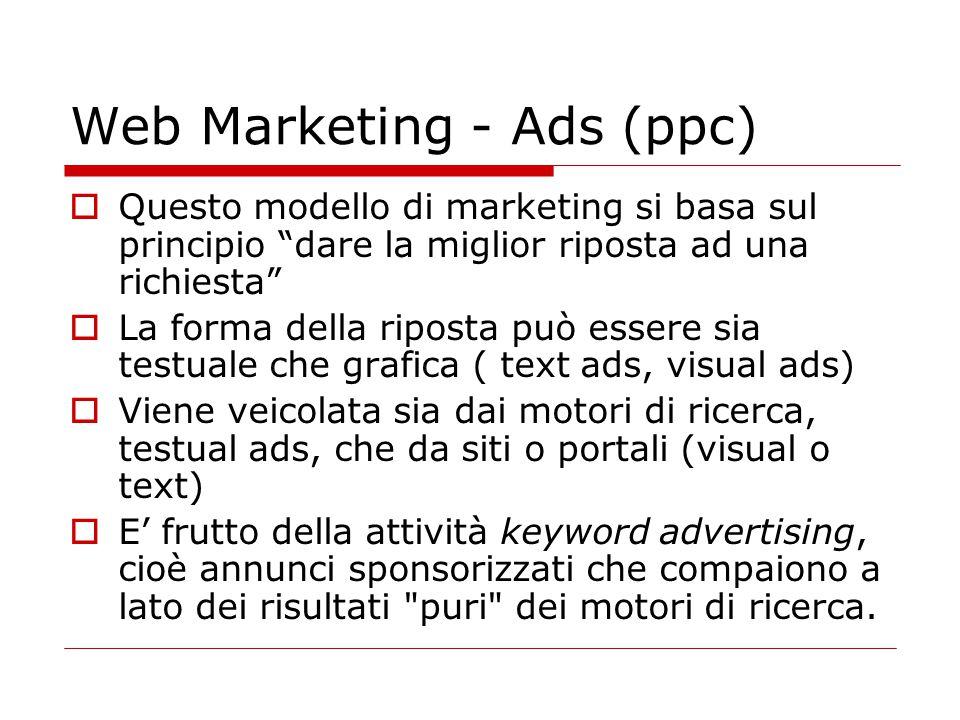 """Web Marketing - Ads (ppc)  Questo modello di marketing si basa sul principio """"dare la miglior riposta ad una richiesta""""  La forma della riposta può"""