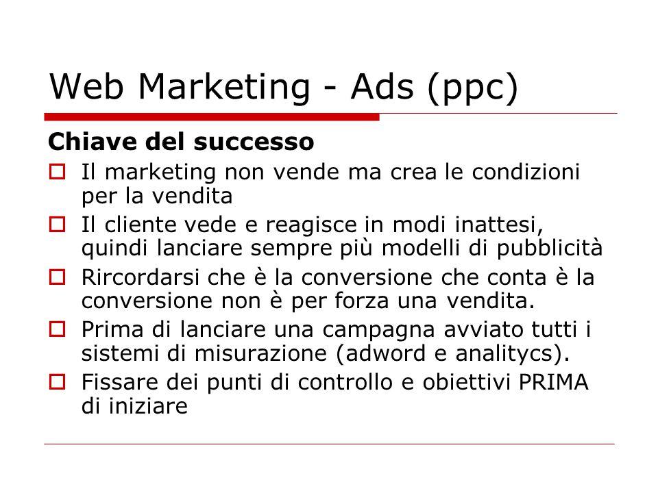Web Marketing - Ads (ppc) Chiave del successo  Il marketing non vende ma crea le condizioni per la vendita  Il cliente vede e reagisce in modi inatt