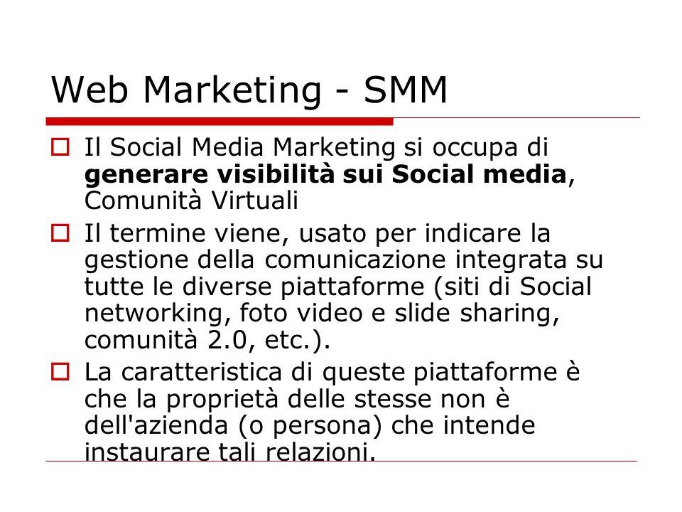 Web Marketing - SMM  Il Social Media Marketing si occupa di generare visibilità sui Social media, Comunità Virtuali  Il termine viene, usato per ind