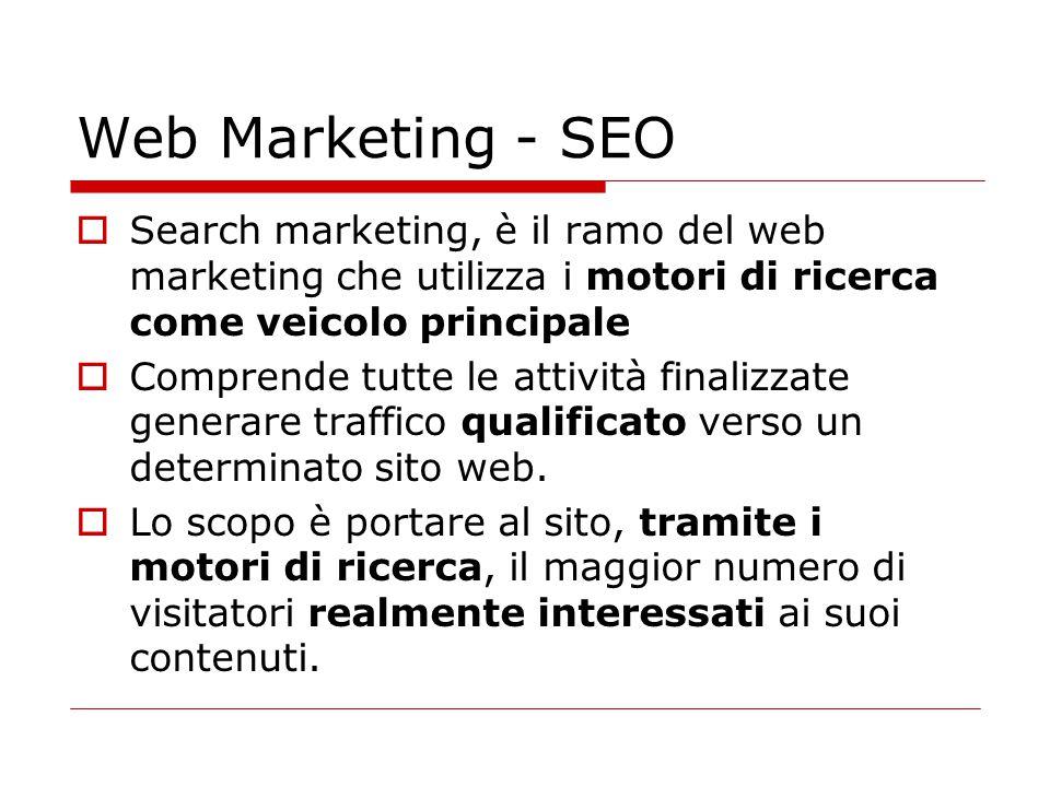 Web Marketing - SEO  Search marketing, è il ramo del web marketing che utilizza i motori di ricerca come veicolo principale  Comprende tutte le atti