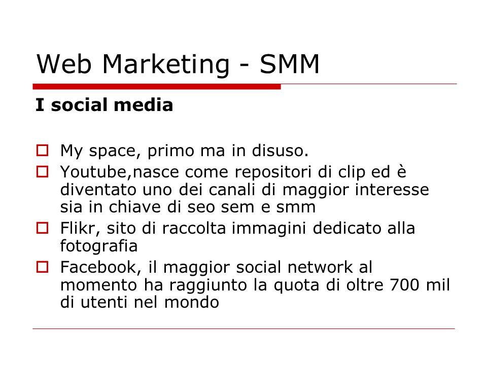 Web Marketing - SMM I social media  My space, primo ma in disuso.  Youtube,nasce come repositori di clip ed è diventato uno dei canali di maggior in
