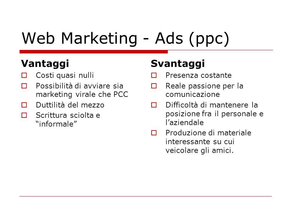 Web Marketing - Ads (ppc) Vantaggi  Costi quasi nulli  Possibilità di avviare sia marketing virale che PCC  Duttilità del mezzo  Scrittura sciolta