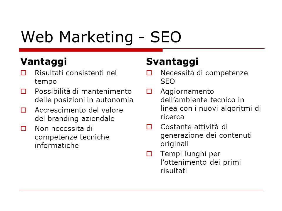 Web Marketing - SEO Vantaggi  Risultati consistenti nel tempo  Possibilità di mantenimento delle posizioni in autonomia  Accrescimento del valore d