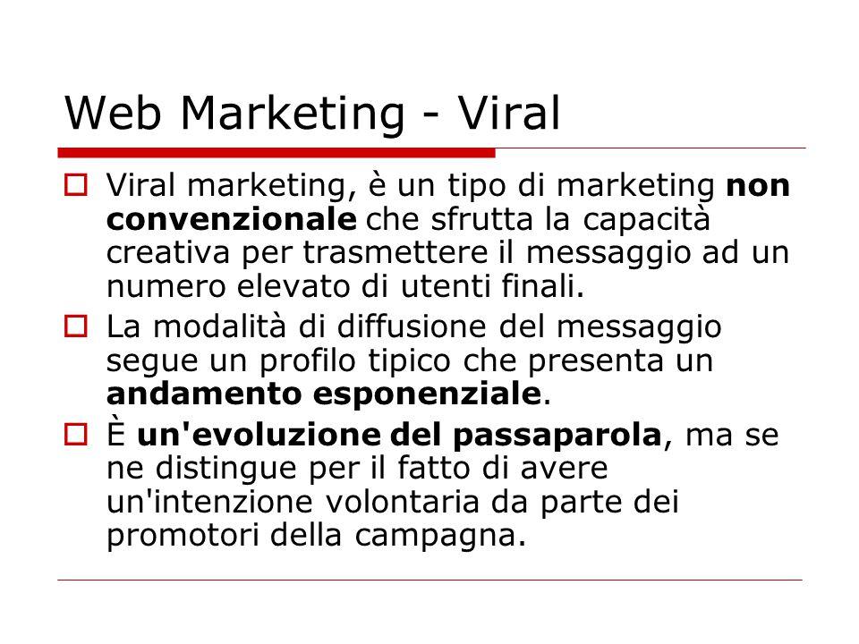 Web Marketing - Viral  Viral marketing, è un tipo di marketing non convenzionale che sfrutta la capacità creativa per trasmettere il messaggio ad un