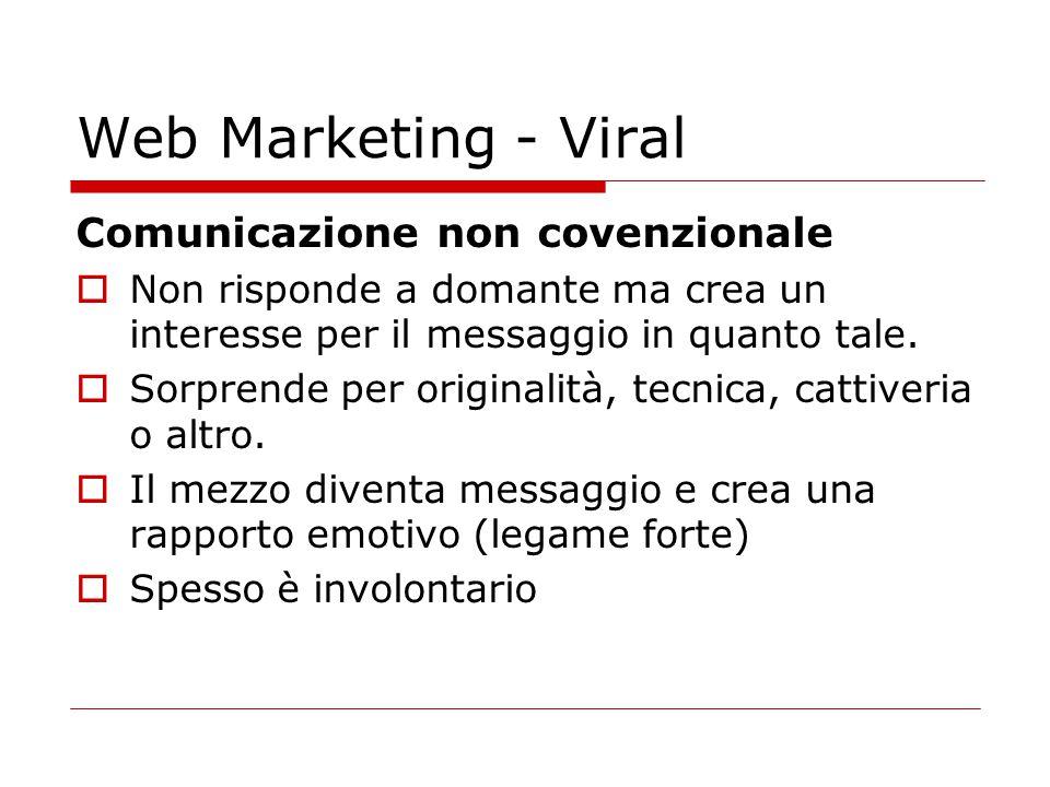 Web Marketing - Viral Comunicazione non covenzionale  Non risponde a domante ma crea un interesse per il messaggio in quanto tale.  Sorprende per or