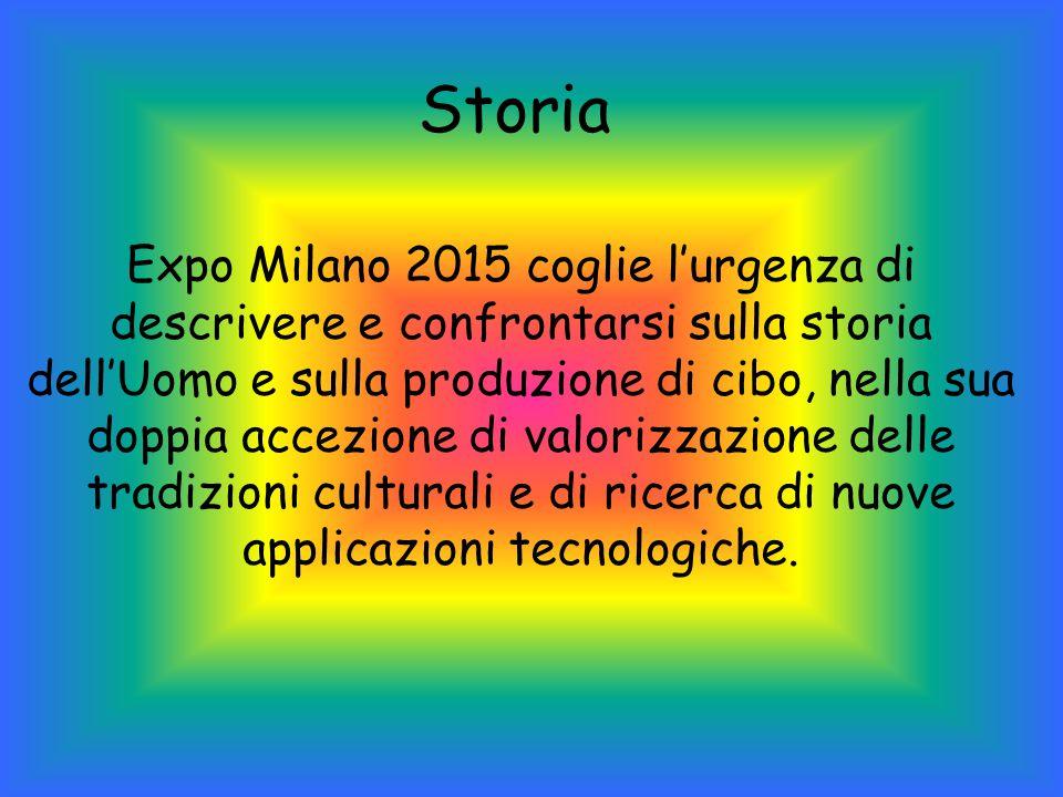 Storia Expo Milano 2015 coglie l'urgenza di descrivere e confrontarsi sulla storia dell'Uomo e sulla produzione di cibo, nella sua doppia accezione di valorizzazione delle tradizioni culturali e di ricerca di nuove applicazioni tecnologiche.