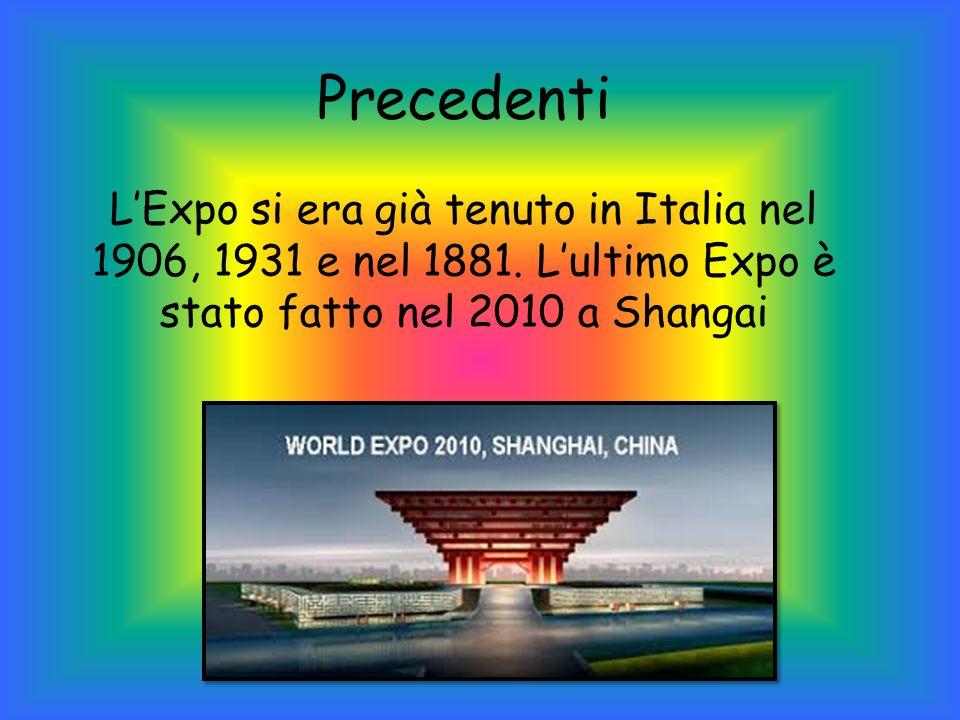 Precedenti L'Expo si era già tenuto in Italia nel 1906, 1931 e nel 1881.