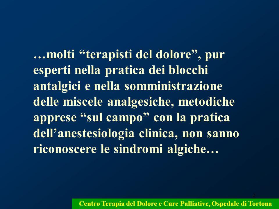3 Centro Terapia del Dolore e Cure Palliative, Ospedale di Tortona …l'unica metodica diagnostica considerata dai terapisti del dolore è la misura del dolore … … per adeguare gli analgesici alla sua entità…