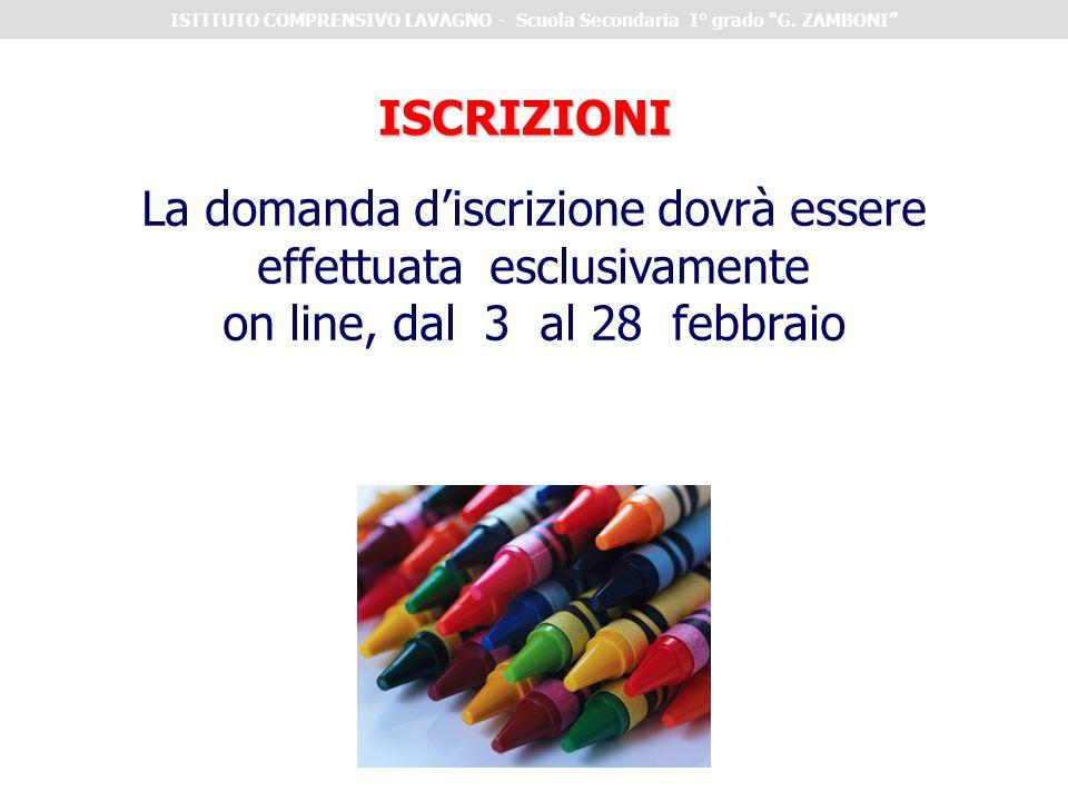 """ISTITUTO COMPRENSIVO LAVAGNO - Scuola Secondaria I° grado """"G. ZAMBONI"""" La domanda d'iscrizione dovrà essere effettuata esclusivamente on line, dal 3 a"""
