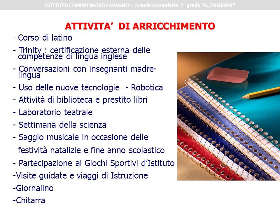 - Corso di latino - Trinity : certificazione esterna delle competenze di lingua inglese - Conversazioni con insegnanti madre- lingua - Uso delle nuove