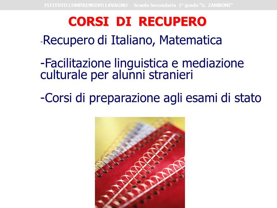 CORSI DI RECUPERO - Recupero di Italiano, Matematica -Facilitazione linguistica e mediazione culturale per alunni stranieri -Corsi di preparazione agl