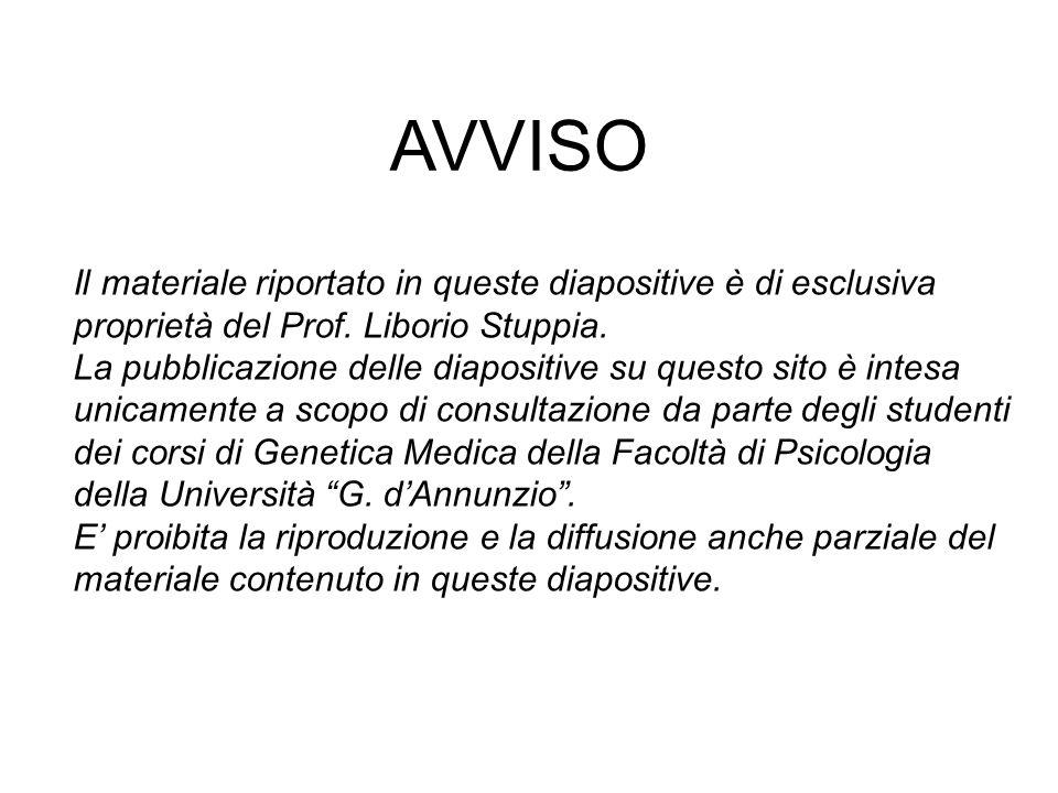 Il materiale riportato in queste diapositive è di esclusiva proprietà del Prof. Liborio Stuppia. La pubblicazione delle diapositive su questo sito è i