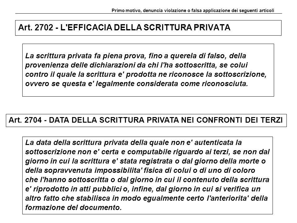 Art. 2702 - L'EFFICACIA DELLA SCRITTURA PRIVATA La scrittura privata fa piena prova, fino a querela di falso, della provenienza delle dichiarazioni da