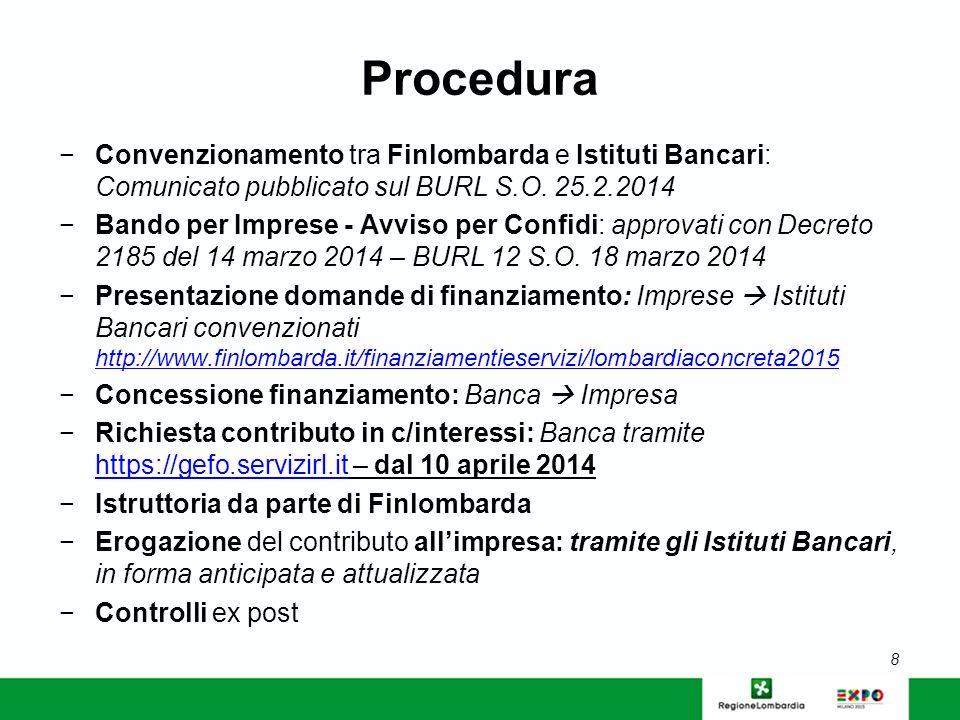 Banche convenzionate http://www.finlombarda.it/finanziamentieservizi/lombardiaconcreta2015 (dal 25 febbraio – data di pubblicazione dell'Avviso per le Banche - si è convenzionata la Cassa Rurale Adda e Cremasco) elenco in aggiornamento 9 Domanda di accesso al contributo da compilare con la Banca, secondo il modulo allegato al Bando (BURL Serie Ordinaria 12 del 18 marzo 2014) Info per le imprese