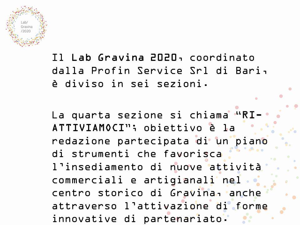 """Il Lab Gravina 2020, coordinato dalla Profin Service Srl di Bari, è diviso in sei sezioni. La quarta sezione si chiama """"RI- ATTIVIAMOCI""""; obiettivo è"""