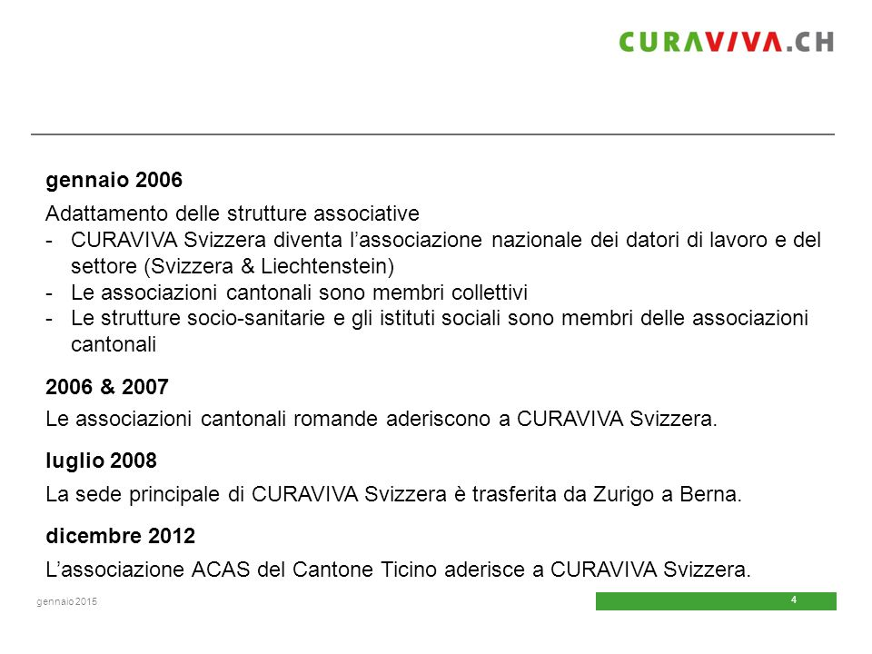 4 4 gennaio 2015 gennaio 2006 Adattamento delle strutture associative -CURAVIVA Svizzera diventa l'associazione nazionale dei datori di lavoro e del s