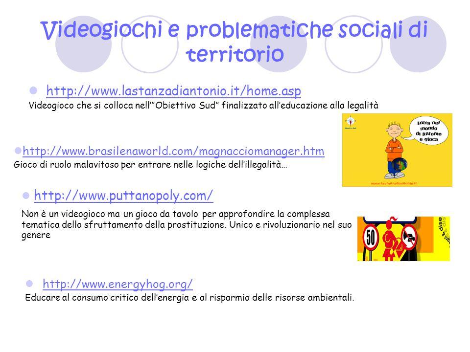 """Videogiochi e problematiche sociali di territorio http://www.lastanzadiantonio.it/home.asp Videogioco che si colloca nell'""""Obiettivo Sud"""" finalizzato"""