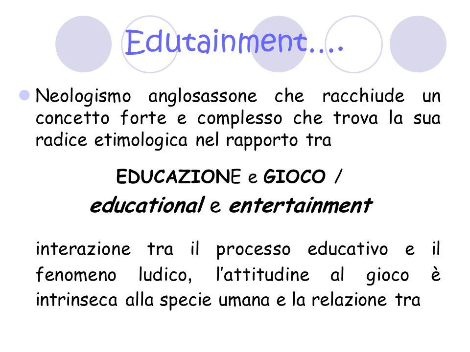 Edutainment…. Neologismo anglosassone che racchiude un concetto forte e complesso che trova la sua radice etimologica nel rapporto tra EDUCAZIONE e GI
