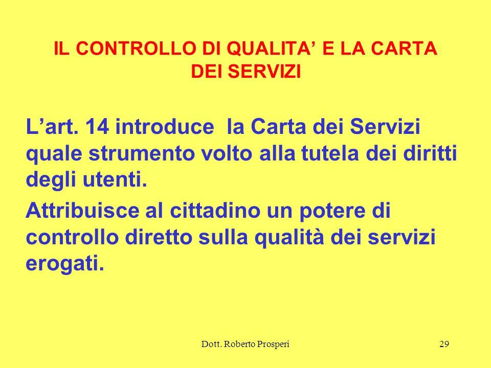 Dott.Roberto Prosperi29 IL CONTROLLO DI QUALITA' E LA CARTA DEI SERVIZI L'art.