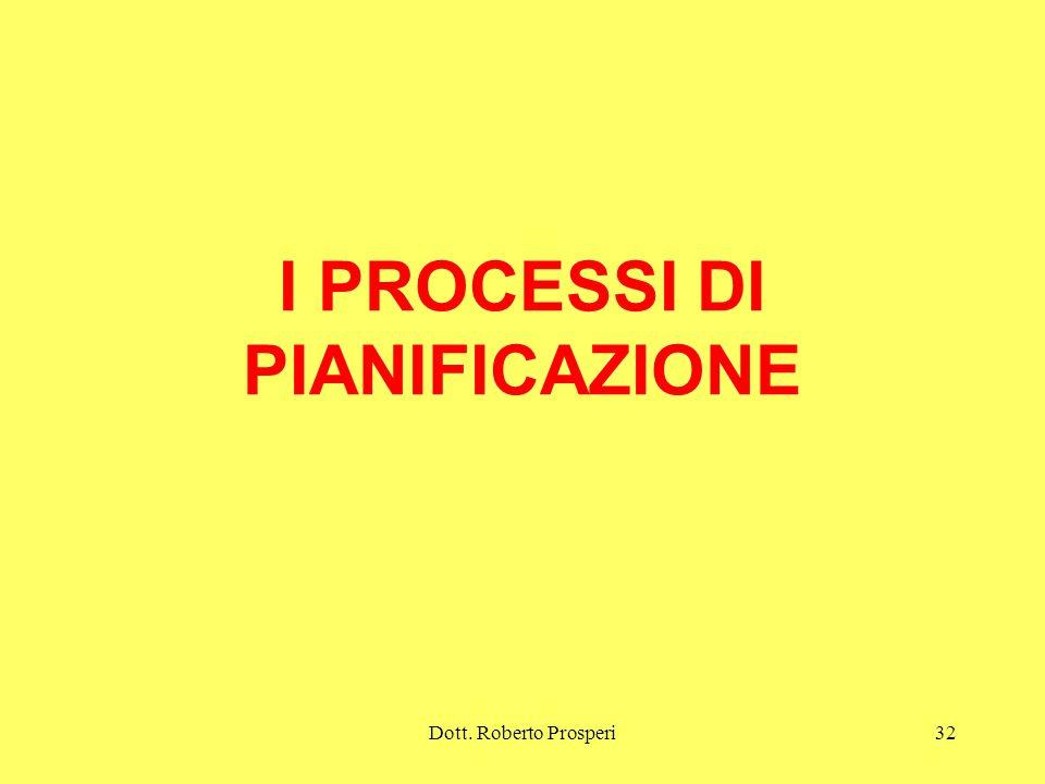 Dott. Roberto Prosperi32 I PROCESSI DI PIANIFICAZIONE