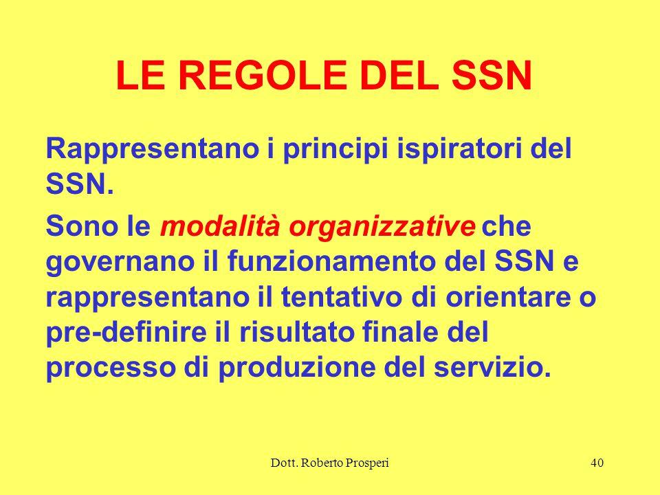 Dott.Roberto Prosperi40 LE REGOLE DEL SSN Rappresentano i principi ispiratori del SSN.